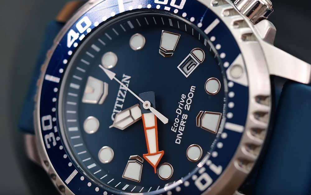 Citizen BN0151-09L Eco Drive Divers Closeup