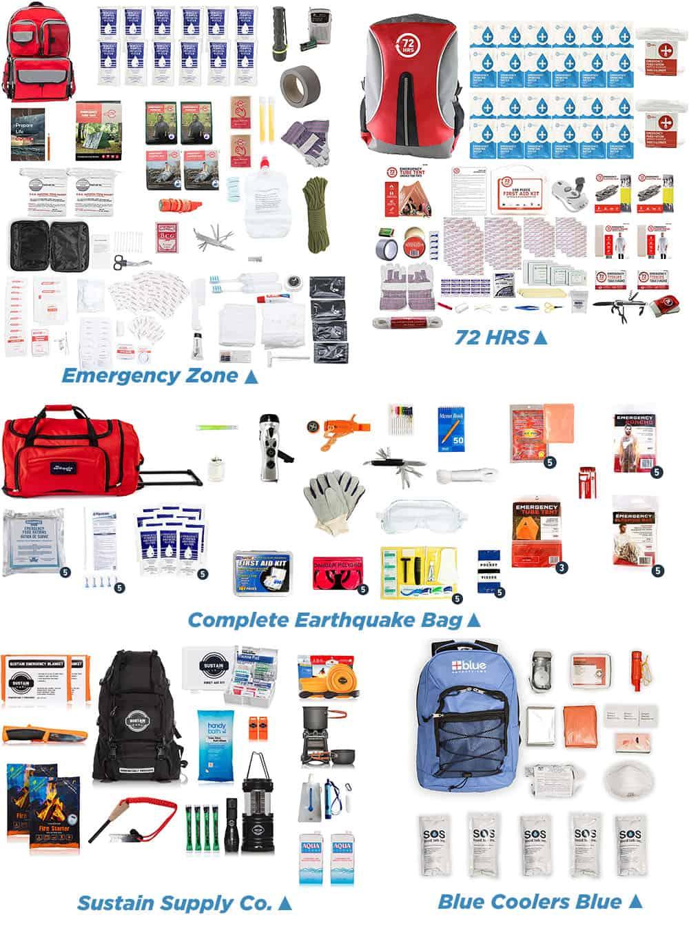 Earthquake Kits Items Comparison