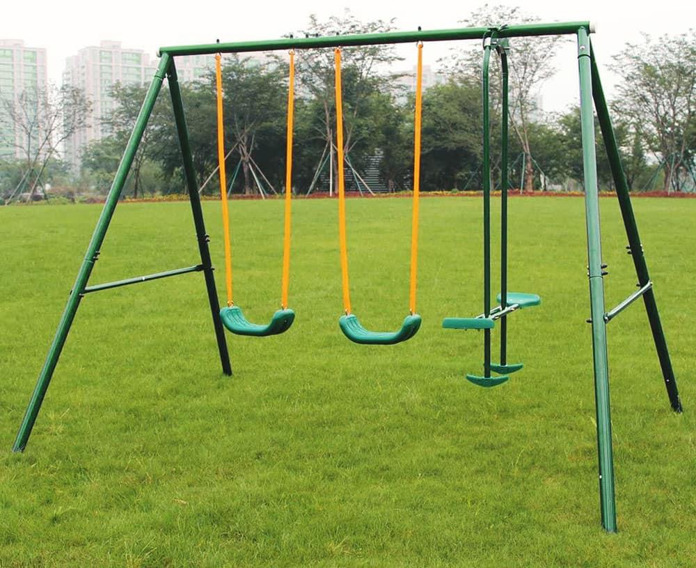 MaxKare Swing Set Metal Outdoor