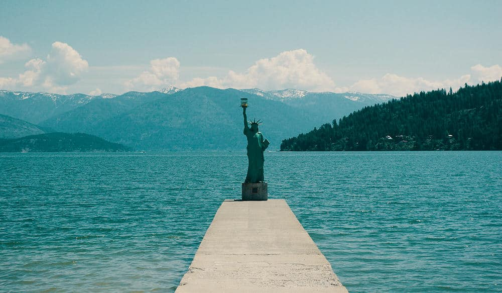 Sandpoint City Beach Statue of Liberty