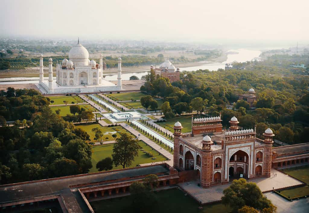 Taj Mahal India Drone Aerial View